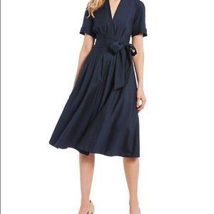 Free People Navy Blue Silky Wrap Dress Sz S